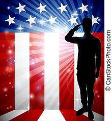 patriotique, soldat, drapeau américain, saluer