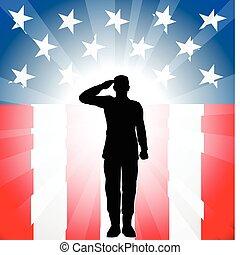 patriotique, soldat, salut