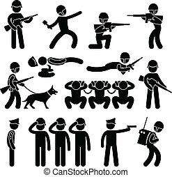 patrouille, armée, chien, militaire, guerre, icône