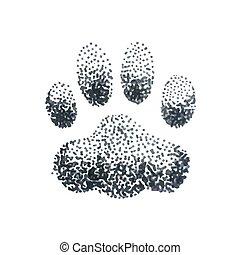 patte, griffonnage, chien, illustration, halftone, impression