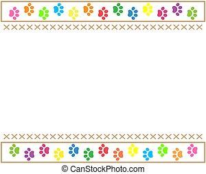 patte, multicolore, animaux, caractères, frontière