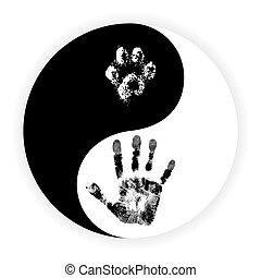 patte, symbole, yin, main, vecteur, yang
