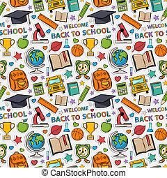 pattern., autocollant, école