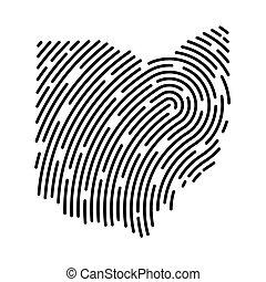 pattern-, carte, illustration, empreinte doigt, ohio, rempli, vecteur