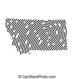 pattern-, carte, illustration, montana, empreinte doigt, rempli, vecteur
