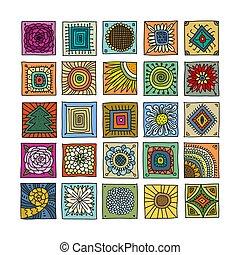 pattern., decoration., mosaic., turc, indien, ornament., espagnol, ethnique, talavera, carreau, patchwork., arrière-plan., marocain