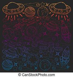 pattern., saturn., jupiter, la terre, griffonnage, espace, soleil, lune, vecteur