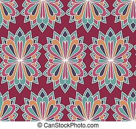 pattern., seamless, arrière-plan., vecteur, ethnique, floral, interminable