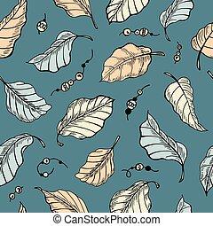 pattern., seamless, feuillage