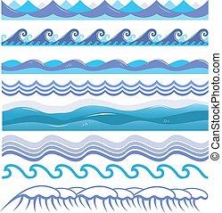 pattern., seamless, illustration, isolé, splashes., vecteur, océan, mer, ressacs, vagues