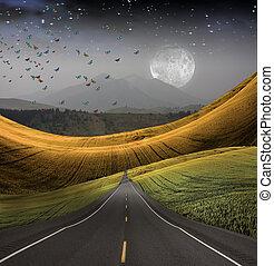 pattes, distance, route