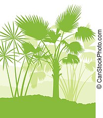 paume, écologie, concept, paysage arbre