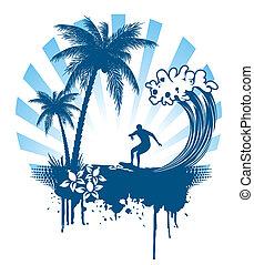 paume, surfer, grunge, vagues