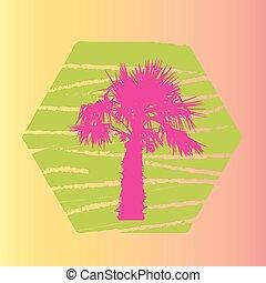 paume, vecteur, silhouette, illustration., arbres.