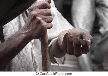 pauvre, argent, mendiant, homme, rue, mains