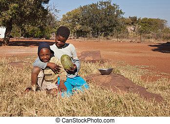 pauvre, enfants, africaine
