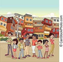 pauvre, voisinage, gens., rue, noir, dessin animé, heureux