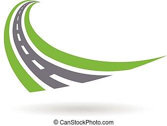 pavé, conception, logo, route, courbé, illustration, graphique