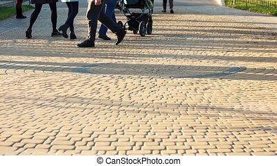 pavé, pavement., marche, gens