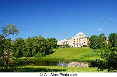 pavlovsk, parc, colline, palais