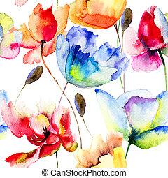 pavot, fleurs, seamless, papier peint, tulipes