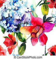 pavot, modèle, fleurs, seamless, hortensia, beau
