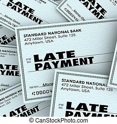 payant, chèque, tard, tas, mots, factures, paiement, retard