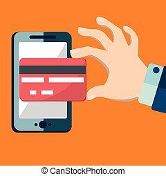 payant, plat, via, banking., mobile, illustration, main, crédit, smartphone, humain, contour, carte