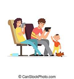 payer, attention, jeune, illustration, vecteur, parents, enfant, pas