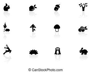 pays boisé, icônes