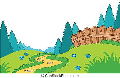pays, dessin animé, paysage