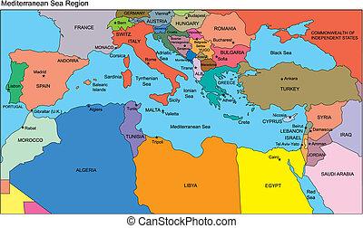 pays méditerranéens, noms, région