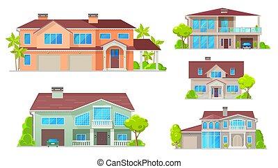 pays, manoir, petite maison, villa, maison, bungalow