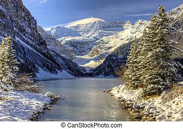 pays merveilles, louise, hiver, lac