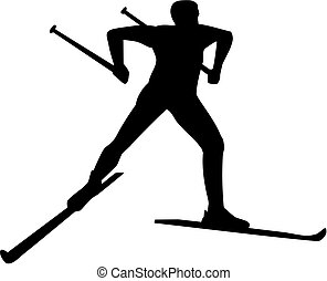 pays, silhouette, croix, skieur