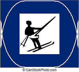 pays, ski, croix, signe