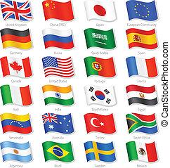 pays, sommet, vecteur, drapeaux, mondiale, national
