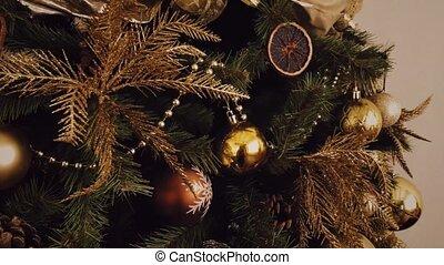 pays, style, vacances, noël, regard, doré, arbre, décoration, décor, maison