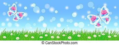 paysage, été, fleurs, fée, vert, papillons, herbe, pré