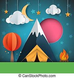 paysage., étoile, illustration., lune, brûler, arbre, montagne papier, tente, dessin animé, nuage