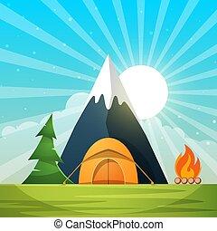 paysage., étoile, illustration., lune, brûler, arbre, papier, tente, nuage, dessin animé, montagne