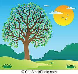 paysage, 1, arbre feuillu