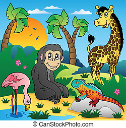 paysage, 5, animaux, africaine