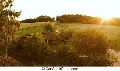paysage, ancien, hutte, sunset., houses., rural