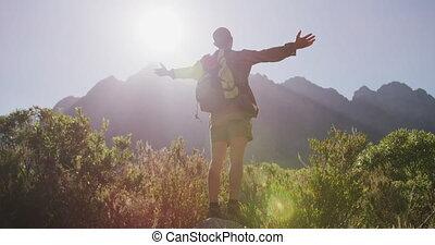 paysage, apprécier, caucasien, homme