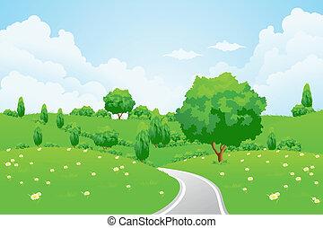 paysage arbre, colline verte, fleurs, route