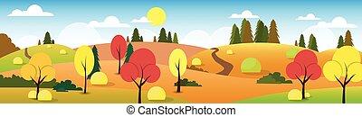 paysage, arbre, route, ciel, forêt automne, nuage, bleu