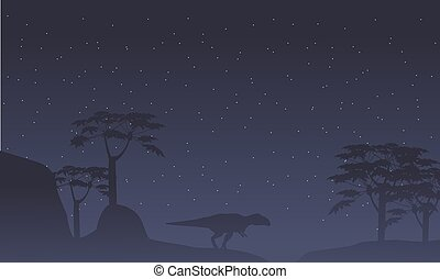 paysage, arbre, silhouette, mapusaurus