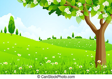paysage, arbre, vert