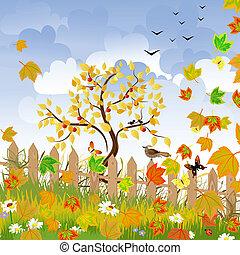 paysage automne, barrière